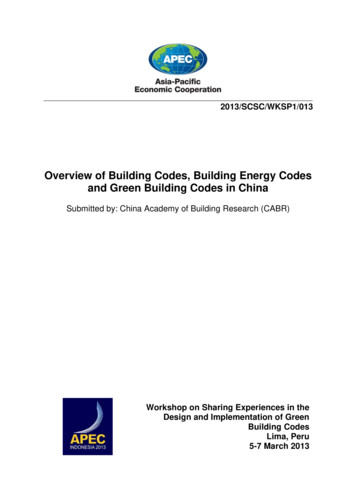 Overview of Building Codes, Building Energy Codes and .