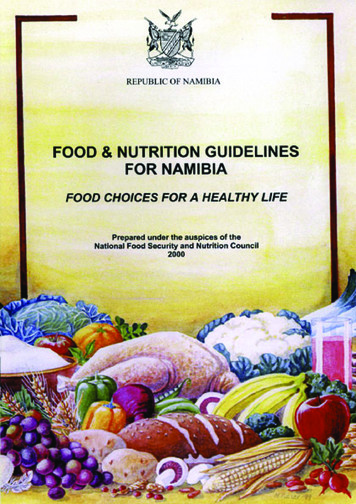 Food & Nutrition Guidelines - Food and Agriculture .