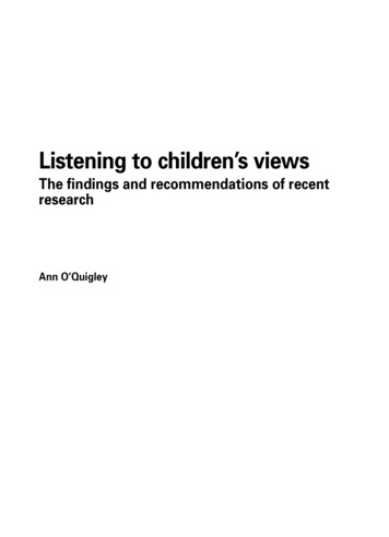 Listening to children's views: The findings and .