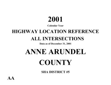 Data as of December 31, 2001 ANNE ARUNDEL COUNTY