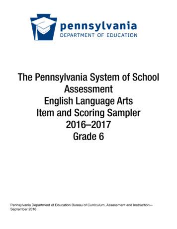 PSSA Grade 6 English Language Arts Item Sampler 2016
