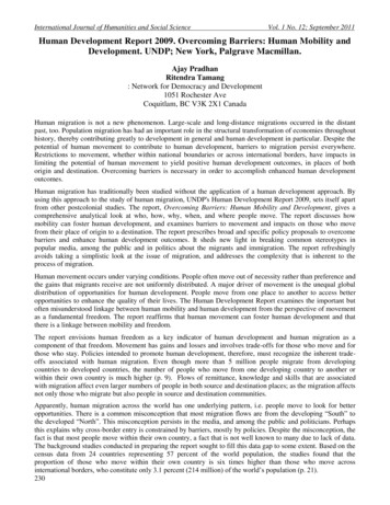 Human Development Report 2009. Overcoming Barriers: Human .
