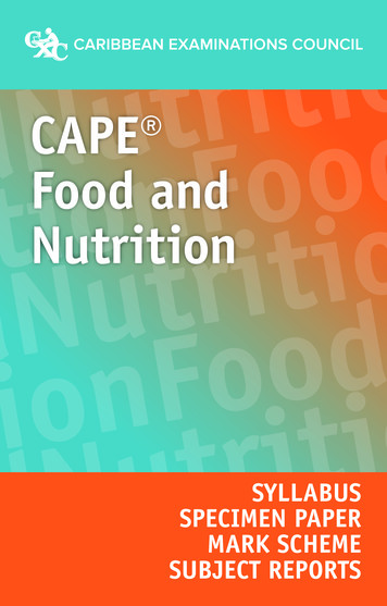 CAPE Food and Nutrition ndNutritionoodand