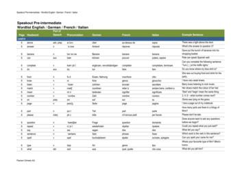 Speakout Pre-intermediate Wordlist English / German .