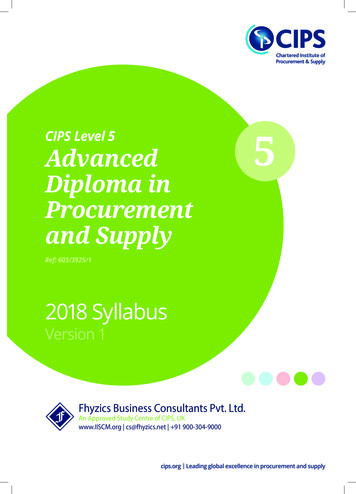 CIPS Level 5 Advanced 5 Diploma in Procurement and Supply