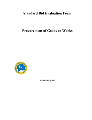 Standard Bid Evaluation Form Procurement of Goods or Works