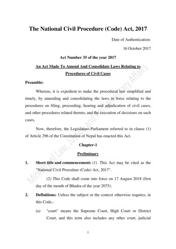 The National Civil Procedure (Code) Act, 2017