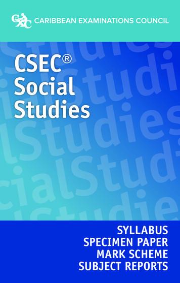 CSEC Social Studies Syllabus, Specimen Paper, Mark Scheme .
