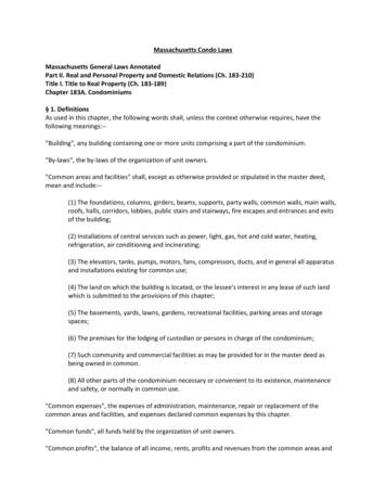 Massachusetts Condo Laws Massachusetts General Laws .