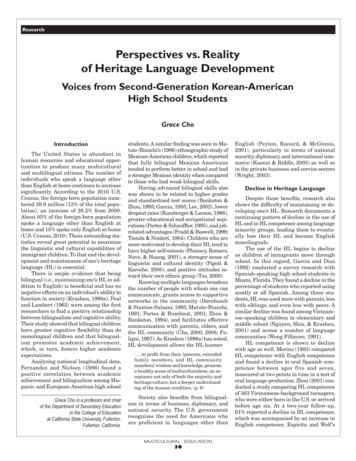 Perspectives vs. Reality of Heritage Language Development