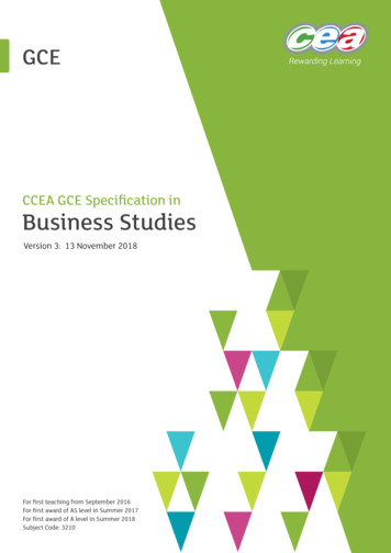 CCEA GCE Specification in Business Studies
