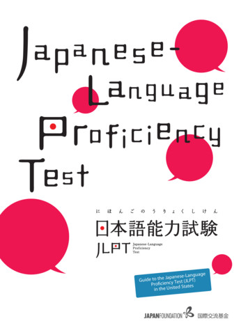 Guide to the Japanese-Language Pro ciency Test (JLPT) in .
