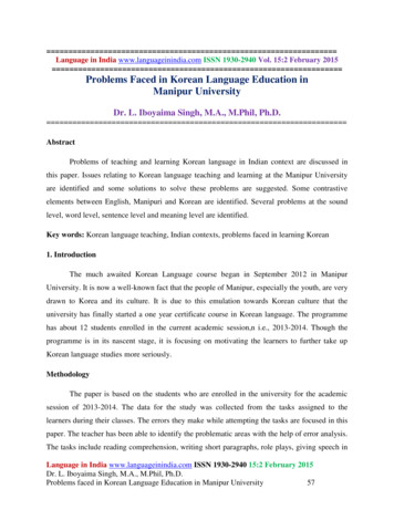 Problems Faced in Korean Language Education in Manipur .