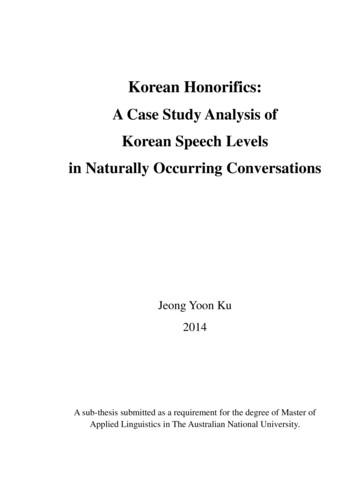 Korean Honorifics - Australian National University