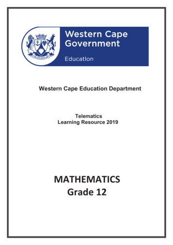 MATHEMATICS Grade 12 - Western Cape