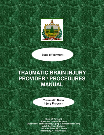 TRAUMATIC BRAIN INJURY PROVIDER / PROCEDURES MANUAL