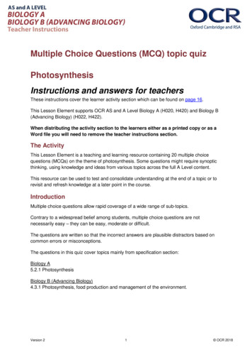 Multiple Choice Questions (MCQ) topic quiz Photosynthesis