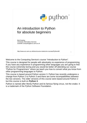 An introduction to Python for absolute beginners