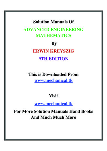 Solution Manuals Of ADVANCED ENGINEERING MATHEMATICS ERWIN .