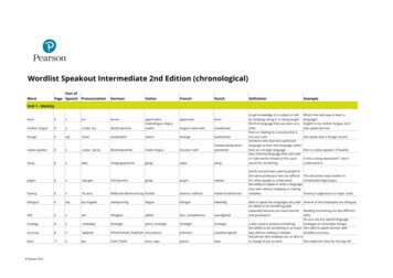 Wordlist Speakout Intermediate 2nd Edition (chronological)
