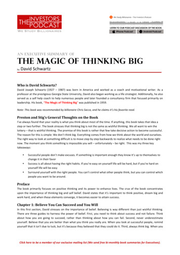 An Executive Summary of the magic of thinking big - Stig's .