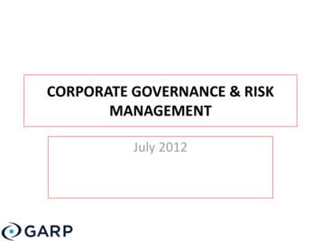 Corporate governance & risk management