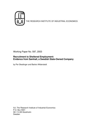 Working Paper No. 597, 2003 - IFN, Institutet för .