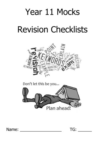 Year 11 Mocks Revision Checklists - Thomas Hardye School
