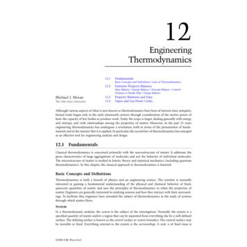 Chapter 12: Engineering Thermodynamics