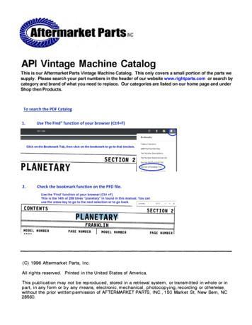 API Vintage Machine Catalog
