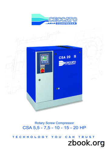 Rotary Screw Compressor CSA 5,5 - 7,5 - 10 - 15 - 20 HP