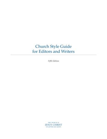 Church Style Guide for Editors and Writers