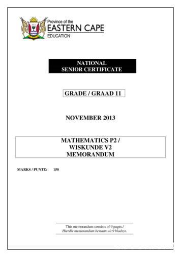 GRADE / GRAAD 11 NOVEMBER 2013 MATHEMATICS P2 / WISKUNDE .