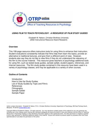 USING FILM TO TEACH PSYCHOLOGY: A RESOURCE OF FILM STUDY .