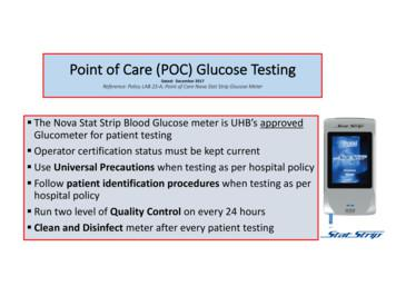 Point of Care (POC) Glucose Testing