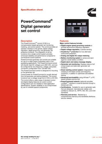 PowerCommand Digital generator set control