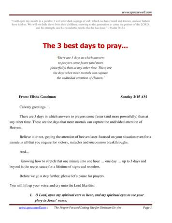 The 3 best days to pray - firesprings