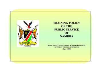 TRAINING POLICY OF THE PUBLIC SERVICE OF NAMIBIA