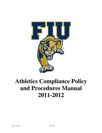 Athletics Compliance Policy and Procedures Manual 2011-2012