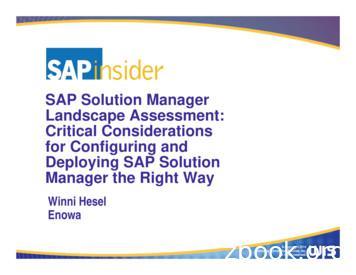 SAP Solution Manager Landscape Assessment: Critical .