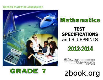 Mathematics Test Specifications and Blueprints, Grade 7 .
