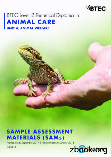 BTEC Level 2 Technical Diploma in ANIMAL CARE