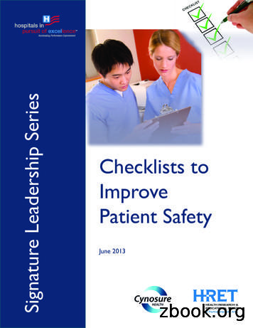 Checklists to Improve Patient Safety