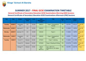 GCSE-ExamTimetable-June-2017 -Revised May 14