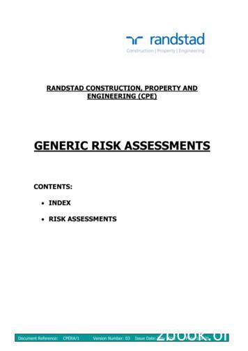 GENERIC RISK ASSESSMENTS