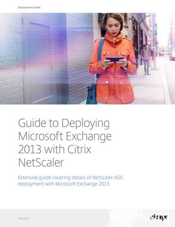 Guide to Deploying Microsoft Exchange 2013 with Citrix