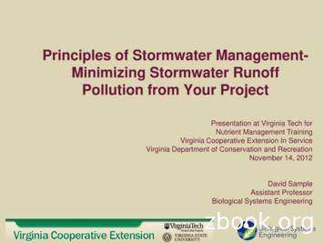 Principles of Stormwater Management- Minimizing Stormwater .