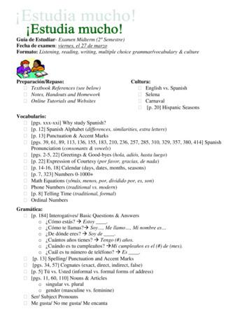 SPANISH 1: MIDTERM STUDY GUIDE & PRACTICE