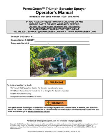 PermaGreen Triumph Spreader Sprayer Operator s Manual