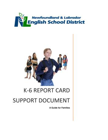 K-6 report card Support Document